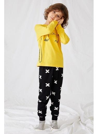 DeFacto Erkek Çocuk Baskılı Pijama Takım Sarı